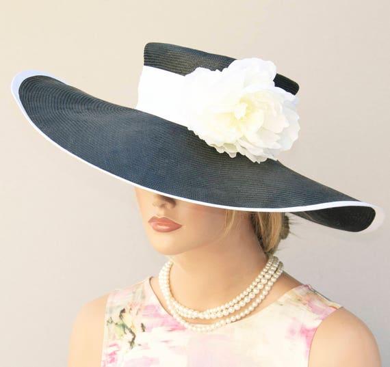 Kentucky Derby Hat, Wedding Hat, Wide Brim hat, Church Hat, Ascot Hat, Ladies Black and White Hat