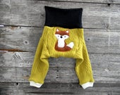 MEDIUM Upcycled CASHMERE & Merino Wool Longies Soaker Cover Diaper Cover With Added Doubler Mustard/ Black/White With Fox Applique  6-12M