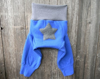 MEDIUM Upcycled Merino Wool Longies Soaker Cover Diaper Cover With Added Doubler Blue/ Gray With Star Applique 6-12 Months Kidsgogreen