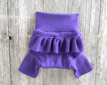 Upcycled Merino Wool Shorties Soaker Cover Diaper Cover Two Full Layers Purple With Ruffle SMALL 3-6Months