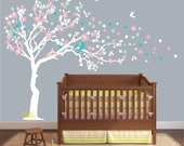 custom Cherry blossom Wall decal white  Wall decal for nursery , large Tree wall decal , Cherry Wall decal , Nursery Wall stickers