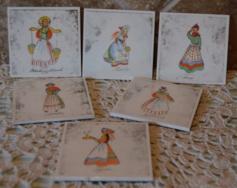 "Six Handpainted Tiles~Vintage~Signed S. Christian~Denmark~3""x3""~One Has Small Chip"