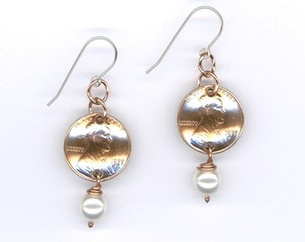 40th Birthday Gift For Women 1977 Penny Earrings Swarovski Crystal Pearl 1977 Coins June Birthstones