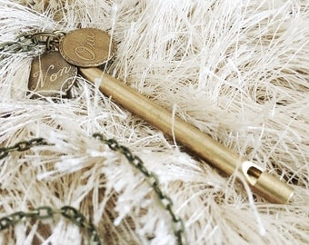 """Antique French """"Qui Non"""" Pendant Necklace with Brass Whistle"""