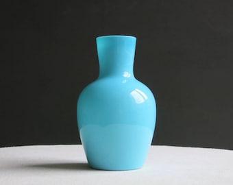 Vintage Turquoise Blue Milk Glass Vase Portieux Vallerysthal - Bottle Form - Medium Size
