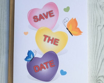 Save the Date Hearts Card, Invitation, Blank Card, Greeting Card, All Occasion Card