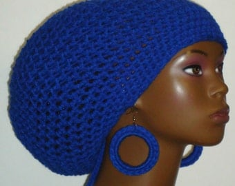 Royal Blue Crochet Large Tam Hat with Drawstring and Earrings Dreadlocks Rasta Tam by Razonda Lee Razondalee