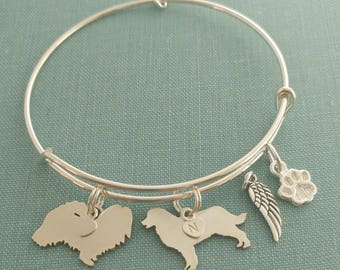 2 Dog Adjustable Bangle Bracelet, 925 Sterling Silver Personalize Pendant Breed Charm Rescue pet memorial jewelry