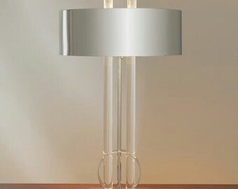 Modern Nickel and Lucite Table Lamp