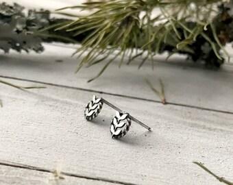 Floral Earrings - Fern and Vine - Simple Stud Earrings - Sterling Silver - Handmade - By Ashley Goings - Goingsnake Silver