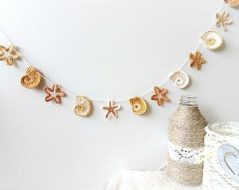 Beach wedding decor - Summer home decor - crochet garland - beach party decorations - sea shells and starfish garland ~39 inches