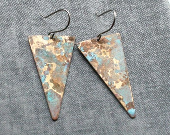 Brass Patina Triangle Earrings, Verdigris Patina Aged Brass Earrings Triangle Earrings
