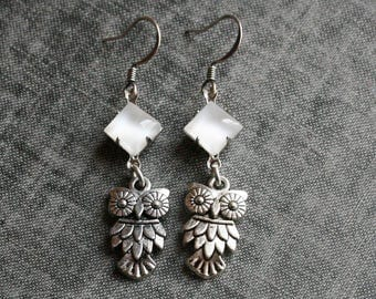 Owl Earrings, White Earrings  Dangle Owl Earrings Owl Jewelry