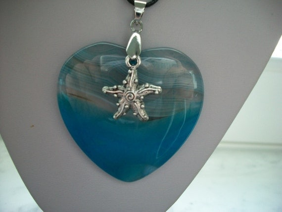 Turquoise and Light Blue Heart Pendant on Cord Necklace