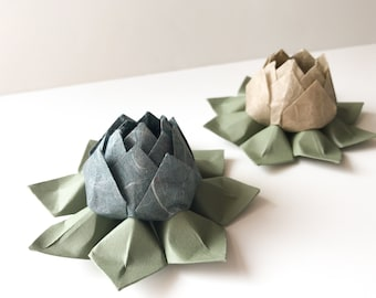Handmade Paper Flower - Origami Lotus Flower - 4 inches across - smaller size