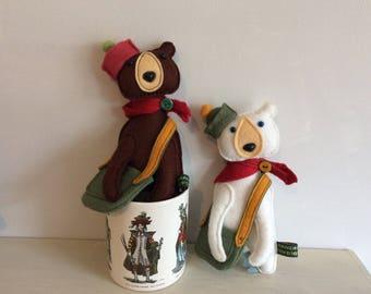 Handmade miniature felt forest bears
