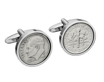 10 year Anniversary- Tin Year- Gift, 2007 Cufflinks, Tin Anniversary Gift, Aluminum Anniversary Gift, Dime Coin Cufflinks, 10th Anniversary