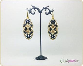 Versailles earrings pattern. Tutorial step by step, how to make Versailles earrings with arcos beads.