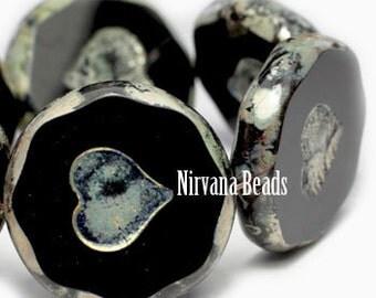 Czech Heart Beads, Black Heart, Strand of 6, Heart Beads, Czech Beads, Glass Beads, Antique Beads, Picasso Beads, Glass Hearts, Jet Heart