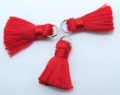 Red Tassels, Cotton Tassels, Silver Toned Brass Jump Rings, 3pcs, Approx 20mm, TSL20MM5, Jewelry Supplies, Craft Supplies, Zardenia