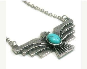 Thunderbird Necklace - Native Thunderbird - Turquoise Necklace - Tribal - Southwestern - Symbolic Bird Necklace - Thunderbird Jewelry