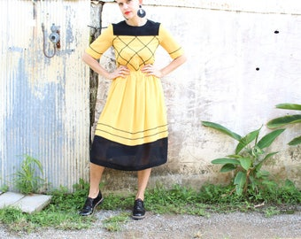 Japanese eighties yellow vintage dress