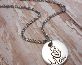 Mother's Day Mom Necklace with Child Embrace on Bright Silver Aluminum Pendant / Hand Stamped and Perfect
