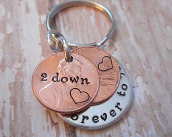 2 Years Down and Forever To Go Wedding Anniversary Key Chain with Heart Stamped Around 2015 Date on Penny / Gift for Him or Her