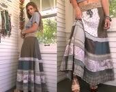 Patchwork long maxi skirt,Size S/M , eco skirt, festival skirt, hippie skirt, jersey skirt, gypsy skirt,earthy skirt, neutral skirt, Zasra