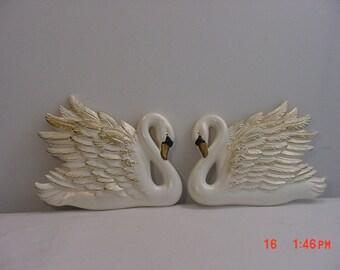 2 Vintage Chalk Swan Wall Hangings    16 - 592