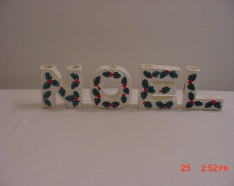 Vintage Ceramic Noel Christmas Candle Holders   17 -