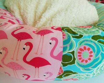 FLAMINGO Donut Dog Bed- Amy Butler Pink Mint Turquoise