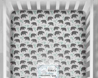 MINKY Bear Crib Sheet- Designer Crib Sheet - Bear Minky Crib Sheet  - Change Pad Cover-  Mint Gray Bear Sheet- Crib Bedding- Bear Bedding