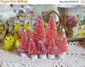 Store Closing SALE Beautiful Pretty Pink Pastel Easter-Bottle Brush Tree-Decoration-Putz-7 piece set