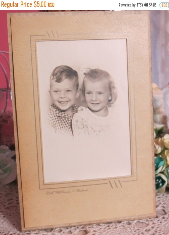 ON SALE Antique Cabinet Photograph-Sweet Siblings