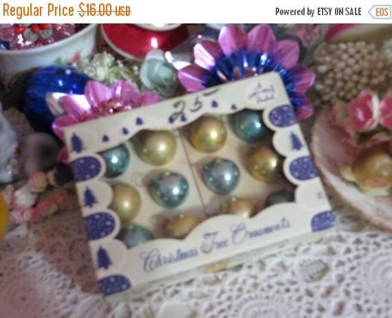 ON SALE Vintage Christmas-Tiny Feather Tree Glass Ornaments-Original Box-1 dozen-20mm-Shiny Brite-Aqua and Gold