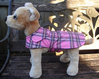 Dog Jacket - Pink Black and Blue Plaid Dog Raincoat- Size XXS 8 to 10 Inch Back Length