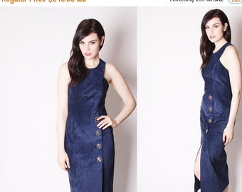 40% Limited time SALE  - Navy Blue Suede Vintage 80s Cocktail Party Dress / Suede Dress / Blue Suede / Long Suede Dress / 1940