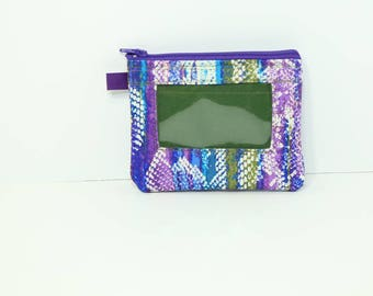 "ID purse in Purple and Green multicolor stretch denim 4"" H x 5 "" W"