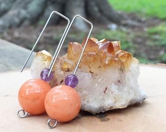 Orb earrings, modern peach stone drop earrings