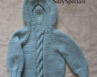 Knitted Hooded Baby Sweater with back Zipper and Cable Pattern PDF