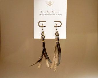 Natural Leather Earrings and Antique Brass