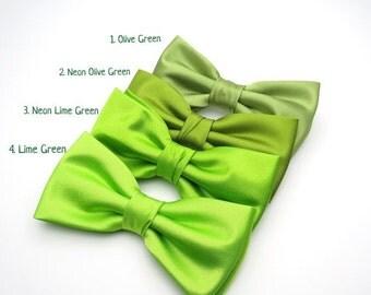 SALE Wedding Bow Tie | Mens Satin Bow Tie | Solid Green Bow Tie | Neon Green Lime Green Olive Green Bow Tie Groom Groomsmen Boy Baby Shower