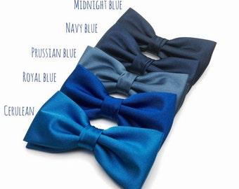 SALE Mens Bow Tie Navy Blue Royal Blue Prussian Blue Cerulean Solid Satin BowTie for Wedding Bow Tie Groom Groomsmen Men Boy Kid Baby Shower