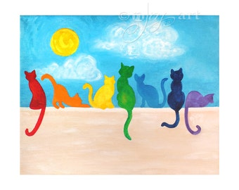 Rainbow Cats on a Wall - 8x10 Print Whimsical Rainbow Cat Art