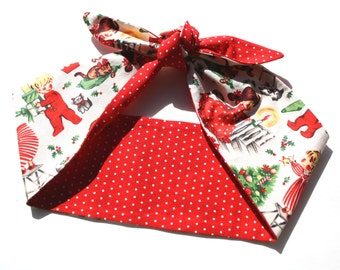 Retro Christmas Head Scarf, Vintage Style, Rockabilly