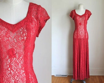 vintage 1930s dress -  POMEGRANATE 30s red lace gown / S
