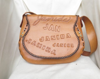 JANIDA Handmade Tooled Leather Arm Bag