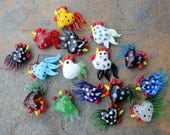 6 large colorful lampwork glass rooster beads - you choose colors  - loose beads jewelry and craft supply