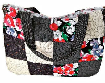 Large Quilted Tote Bag with Pockets, Market Bag, Grocery Bag, Overnight Bag, Carry All Bag, Craft, Project Bag - Floral Black, White & Red